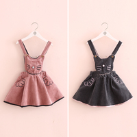 new 2016 Europe and America Hot ins autumn girls cotton corduroy cat straps dress kids dress