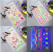 Alibaba retail 1pc free samples glow in dark fether style arabic word mix design stock temporary tattoo sticker
