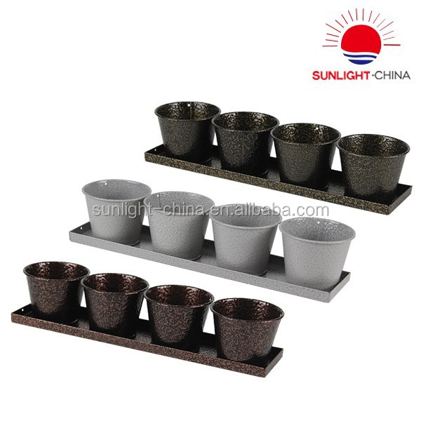 Set of 4 mini flowerpot flower planter garden pot with tray