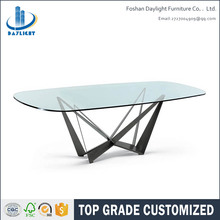 Hot sale Modern design dining room set oval glass dining table