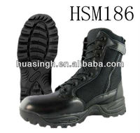 JY,black British style 8 inch YKK side zip military combat boots with solid lacing