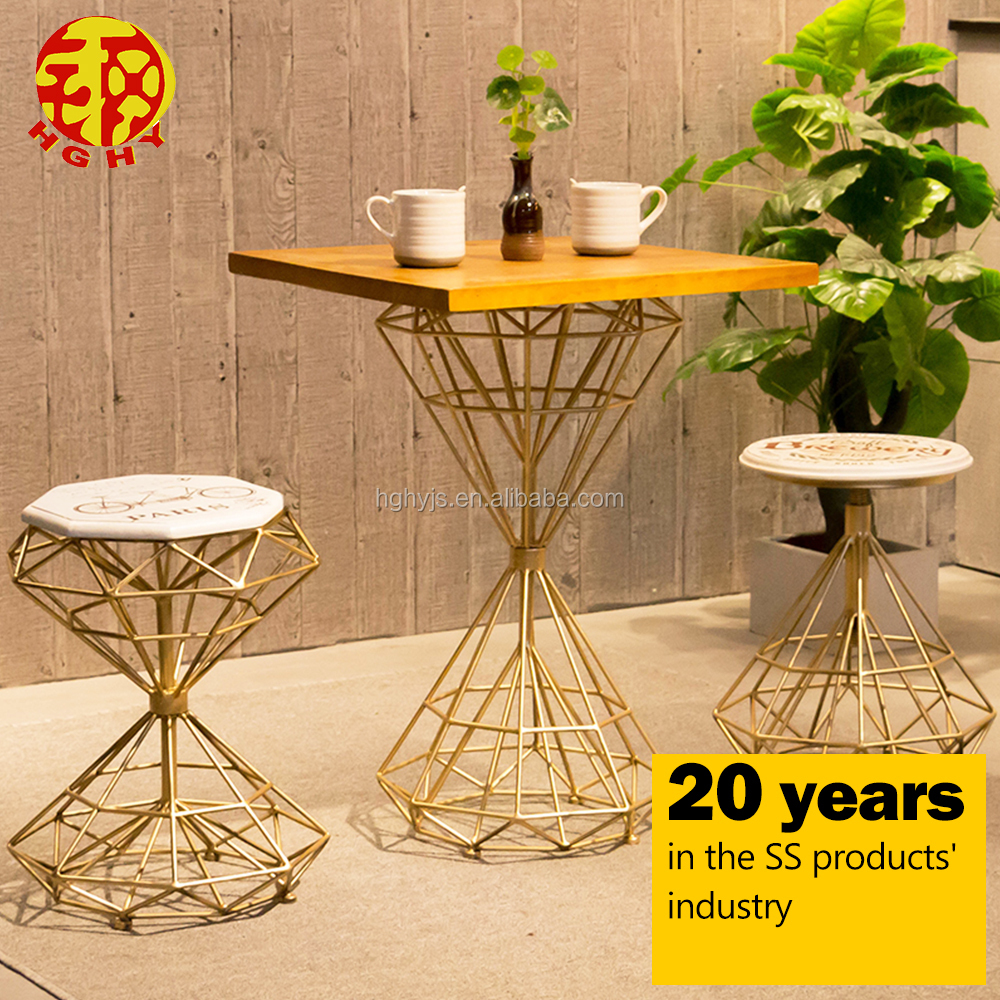 Twisted stainless steel carved small unique metal coffee side table legs modern tea table and chairs set