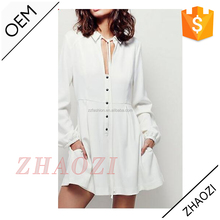 2014 latest design cheap white fashion short mini long sleeve sequin shirt dress with deep v-neck