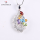Trendy Jewelry Wholesale Newest Multicolor Gemstone 925 Silver Pendant