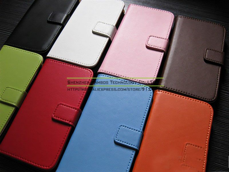 Wallet Flip Genuine Real Leather Skin Stand Cover Case for Samsung Galaxy S4 Mini i9190