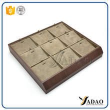 High Quality Customized Made-In-China leather stackable retail jewelry display diamond ring display trays