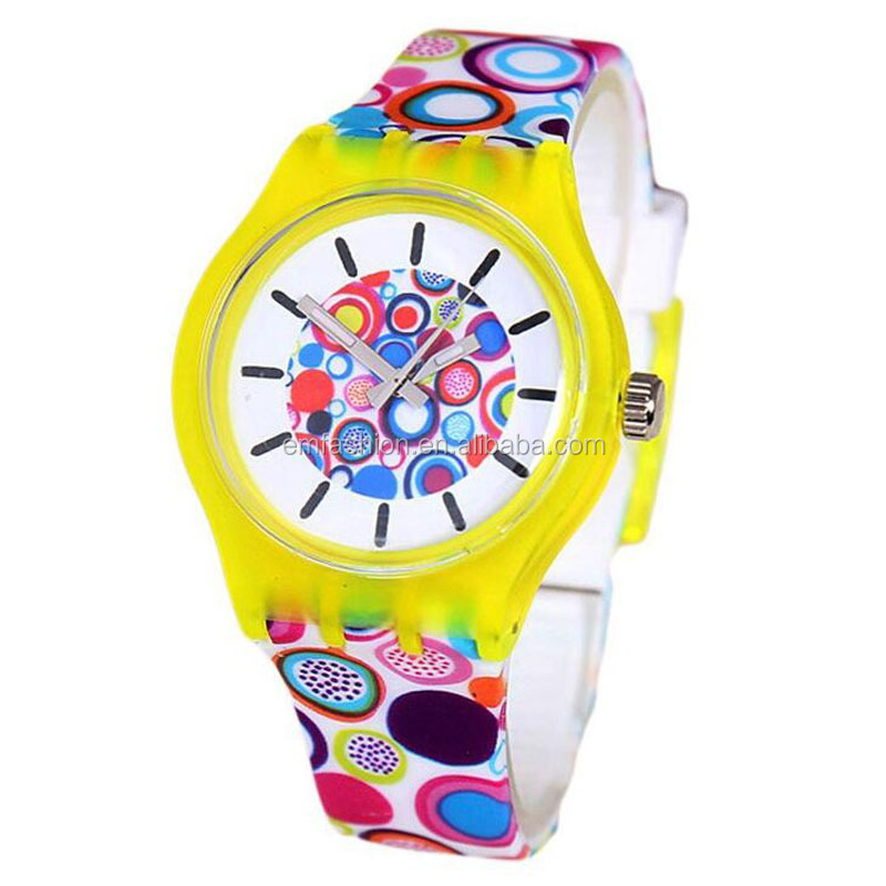 Fashion Design Print Pvc Plastic Wristband Children Kids Watch