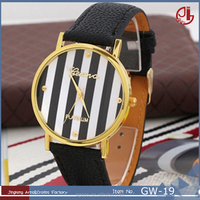 2016 Glass Surface Round Fashion Leather Strap Women Geneva Watch