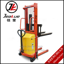 JEAKUE 1T Single Mast Semi Electric Hydraulic Pallet Jack & Stacker