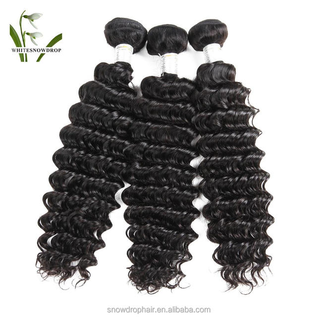 Virgin Peruvian Hair Bundle Deep Wave Whitesnowdrop in Remy Human Hair Weaving