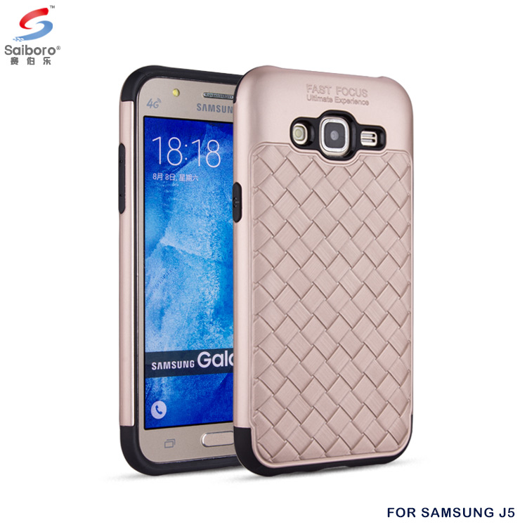 Shockproof tpu pc woven texture hybrid cellphone case for samsung galaxy j5008 j2 j3 j5 j7 prime back cover phone case