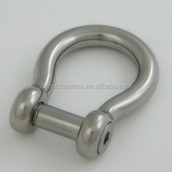 Stainless steel no snag pin bow shackles