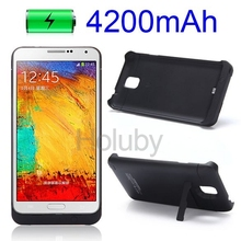 New Arrived mobile accessories 4200mAh Backup External Rechargeable Power Bank Case for Samsung Note3 N9000 with Stand