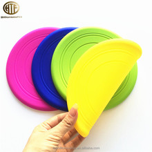 "customized 7"" 178mm round soft silicone rubber frisbee for promotion gift dogs"