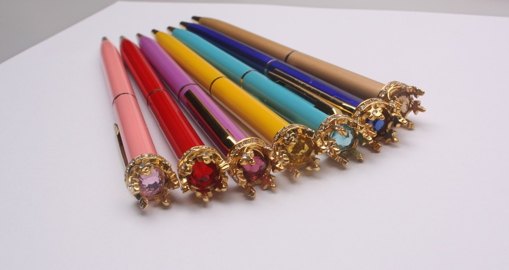 New luxury gift crystal diamond metal twist crown pen with custom logo