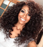 Stock Kinky Curl Natural Brown Full Lace Human Hair Wig