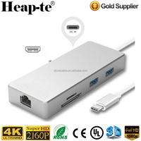 USB Type-C to HDMI 4K UHD / RJ45 Gigabit Ethernet Adapter USB 3.0 /SD/TF Card reader converter