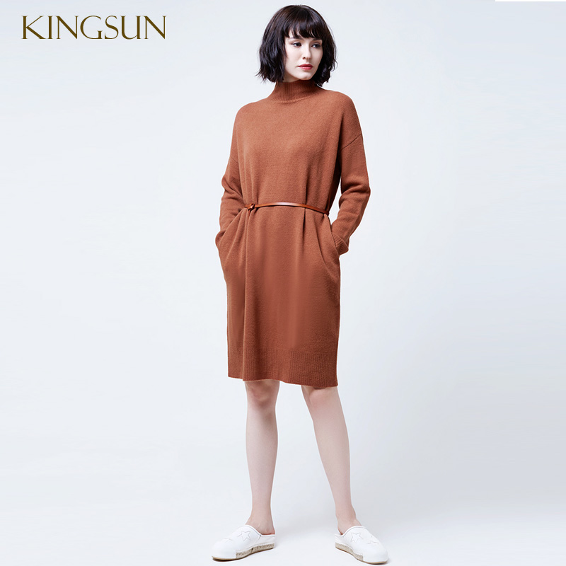Womens Winter Turtle Neck Knitting Long Dress Elegant Ladies 100% Wool Dress