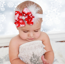 Christmas kids bow feather hair band festival baby headband children's hair accessories