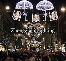 outdoor festive christmas across street led decoration motif lights 3d umbrella