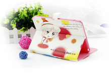 Cartoon pattern phone shell hot selling PU leather case flip leather holster for iPad 5