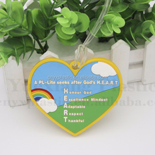 3D Heart shaped luggage tags standard business card size 2D or 3D soft pvc vinyl rubber silicone luggage tag