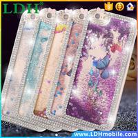For iphone 5S Capa Luxury Diamond Butterfly Crystal Clear Hard Back Case For Apple iPhone 5 5S 5G Liquid Bling Quicksand Cover