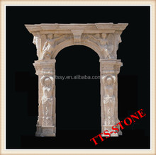 White Marble Carved Lady Statue Door Frame