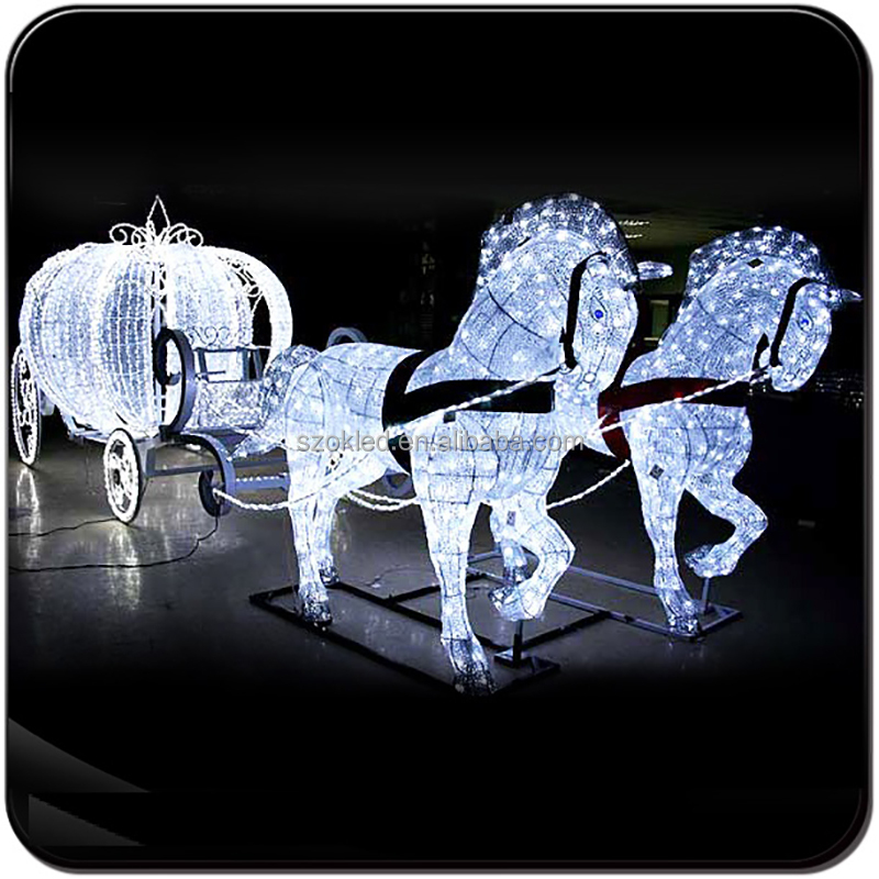 Outdoor christmas saleable items decoration horse led lighted carriage