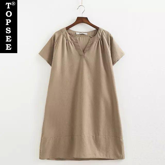 Buy Loose Plus Size Dresses Summer New Korean Style Cotton Linen