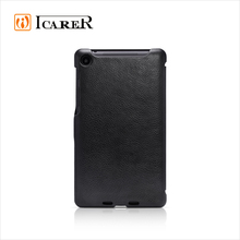 ICARER Costomized Genuine Leather Folio Phone Wallet Case for Google Nexus 7 II