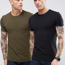 wholesale 95% Cotton 5% Elastane T Shirt men Sports Muscle Fit blank olive green army T Shirt