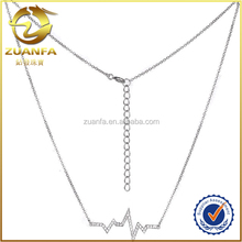 good quality white cz setting 925 sterling silver women jewelry heartbeat line necklace