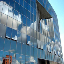 Aluminum frameless glass curtain wall facade for commercial building