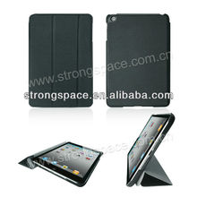 Sleep awake leather flip cover for ipad mini case with stand function