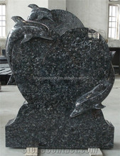 Dolphin Heart Style Blue Pearl Granite Gravestone With Animal