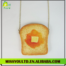 Korean wholesale custom Bread coin purse with chain