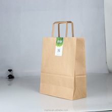 Brown kraft cheap recycled good quality small package belt with handle grocery no printing paper bags