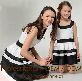 hot summer black and white casual dress mother and daughter clothing sets