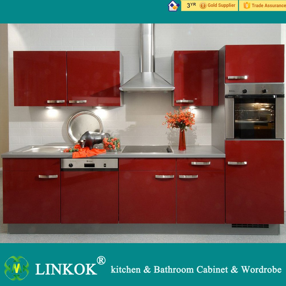 China factory wholesale kitchen furniture high gloss red for China kitchen cabinets wholesale