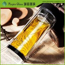 Eco friendly glass drinking cup with filter,filtered glass water bottle