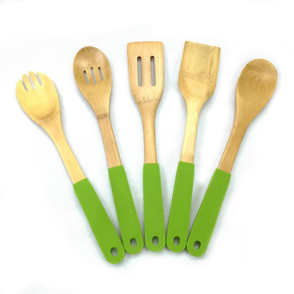 Bambus Holz Silikon Griff Küchenutensilien Gesetzt Kleinen Löffel ...