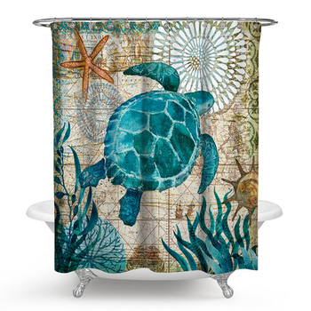 Sea Turtle Print Waterproof Shower Curtain Polyester Fabric Bath Curtain Home Bathroom Curtains 12 hooks