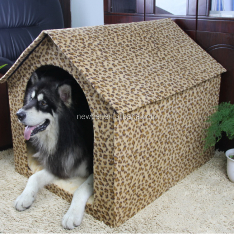 Most popular modern design leopard short plush dog cage outdoor animal dog house for dog
