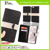 diamond studded bling mobile phone case with card slot for iphone 6 plus