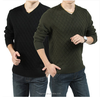 The autumn winter latest design leisure cotton v-neck grid mens knitting sweater