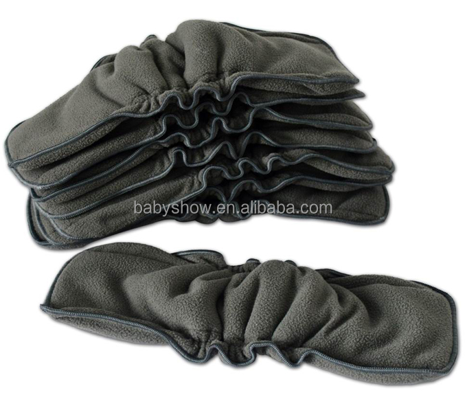 Naturally baby cloth diaper inserts 5layers bamboo charcoal double gussets diaper inserts reusable and washable