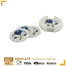 New products White Marble cup mats a set of 4 stone Coasters with color printing