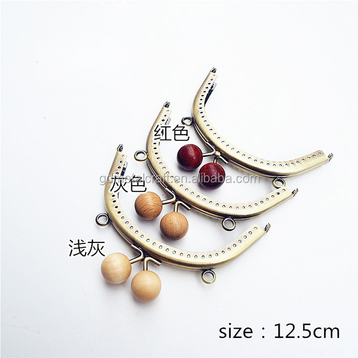 Round Wooden Bead Metal Purse Frame Coin Bag Kiss Clasp Lock