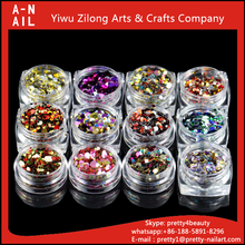 High Quality 2.8*2.8cm Colorful Nail Art Glitter Mix Popular Holographic Color Round Glitter Sequins For Nail Art 12jars/set